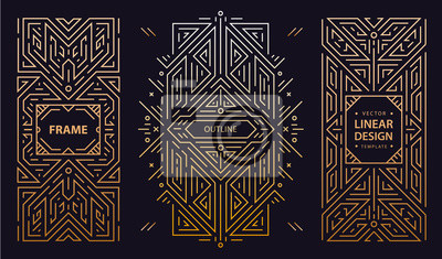 Fototapete Vector set of art deco frames, adges, abstract geometric design templates for luxury products. Linear ornament compositions, vintage. Use for packaging, branding, decoration