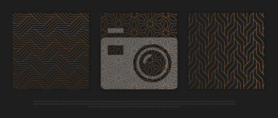 Fototapete Vector set of design elements, labels and frames for packaging for luxury products in trendy linear style.