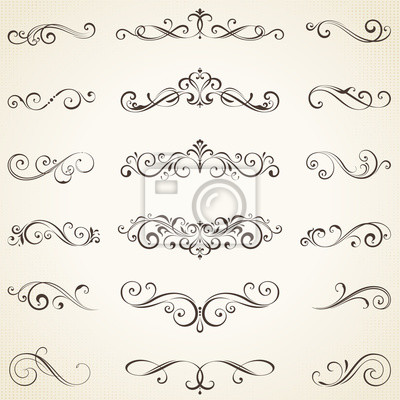 Fototapete Vector set of ornate calligraphic vintage elements, dividers and page decorations.