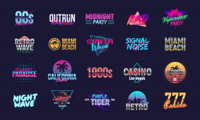 Fototapete Vector set of signs and logos in Retrowave style. Retro 80's logos set for Night club, music album, party invitation designs. Print for t-shirt, tee. 20 colorful neon logo designs.