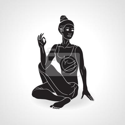 Vector Silhouette der Yoga-Mädchen