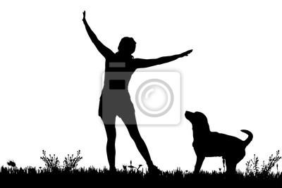 Hund frau Der leckende