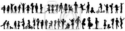 Fototapete Vector silhouette of set of children.