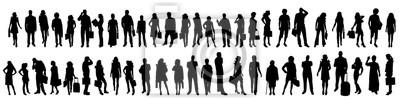 Fototapete Vector silhouette of set of people.