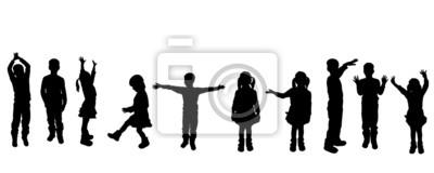 Fototapete Vector Silhouette von Kindern.