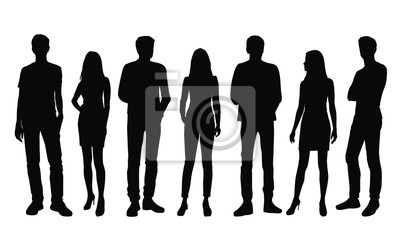 Fototapete Vector silhouettes of  men and a women, a group of standing business people, black color isolated on white background