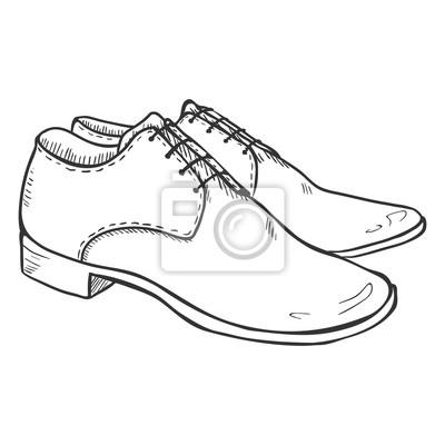 Fototapete Vector Sketch Illustration - Paar klassische Männer Schuhe dd94c926fa