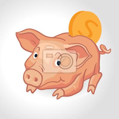 Vector Sparschwein mit Münze