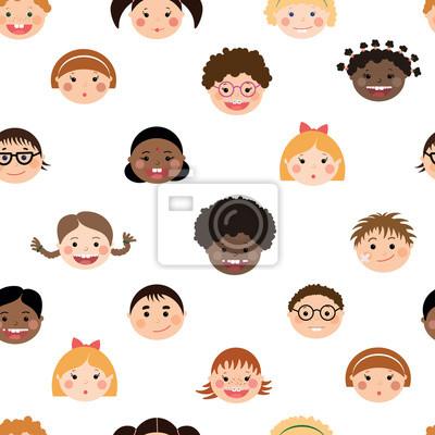Vector sseamless Muster mit chlidren lächelnd Gesichter. Jungen und Mädchen mit verschiedenen Farben Haut, Frisuren, Klammern und Gläser.