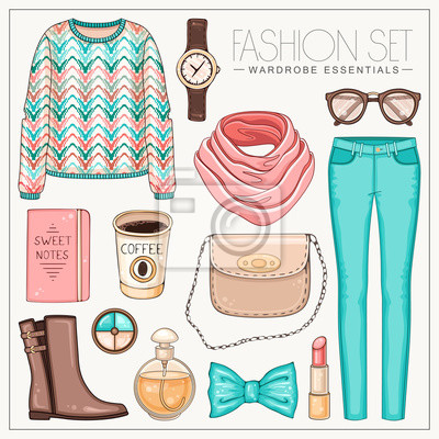 Vector stilvolle Mode-Set von Frau Kleidung, Accessoires und Kosmetika. Casual Pastell Farbe Herbst oder Frühjahr Outfit mit Pullover, Hose, Schal und Stiefel