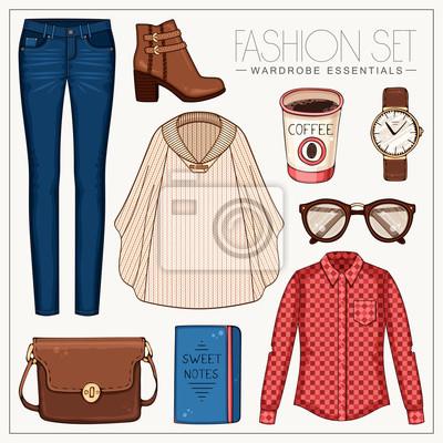 Vector stilvolle Mode-Set von Frau Kleidung und Zubehör. Beiläufige Herbst- oder Frühlingsausstattung mit rotem Plaidhemd, Jeans, woolen Kap und Aufladungen