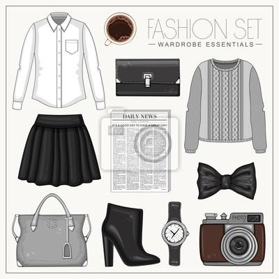 Vector stilvolle Mode-Set von Frau Kleidung und Zubehör. Schwarzes, graues und weißes Outfit mit Hemd, Rock, Pullover und hochhackigen Stiefeln