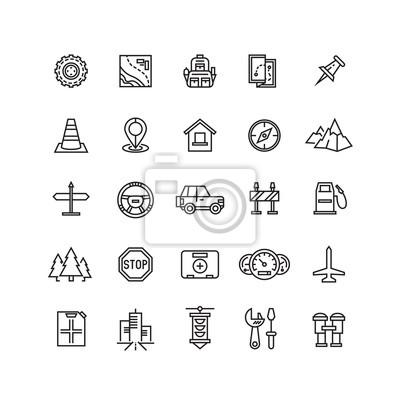 Vector straße, automatische linie symbole. auto auto-symbol ...
