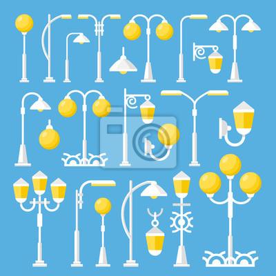 Vector Straße Laternen gesetzt. Vintages und modernes Straßenlaterne, im Freienpfostenlichter, Stadtelementeansammlung. Flache Design-Vektor-Illustration