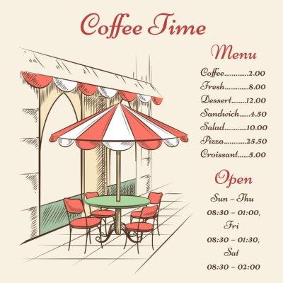 Fototapete Vector street cafe poster