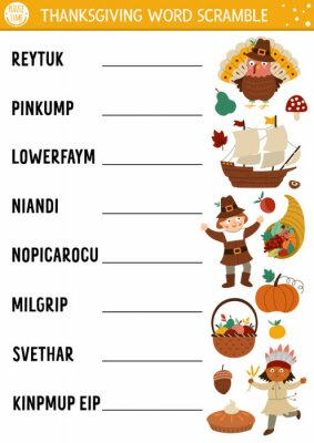 Fototapete Vector Thanksgiving word scramble activity page. English language game with cute turkey, pumpkin, pilgrim for kids. Autumn Fall holiday family quiz. Simple educational printable worksheet..