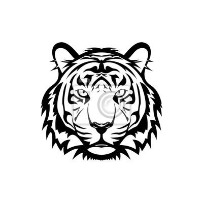 Fototapete Vector Tigerkopf, Gesicht für Retro-Logos, Embleme, Abzeichen, Etiketten Vorlage und T-shirt Vintage-Design-Element. Isoliert auf weißem Hintergrund