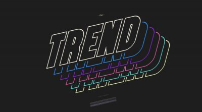 Fototapete Vector trend font 3D bold line style modern typography for decoration, logo, poster, t shirt, book, card, sale banner, printing on fabric, industrial. Cool typeface. Trendy alphabet. 10 eps