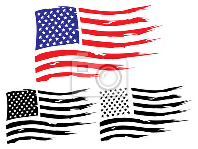 Fototapete Vector USA grunge flag, painted american symbol of freedom. Set of black and white and colored flags of the united states of america.