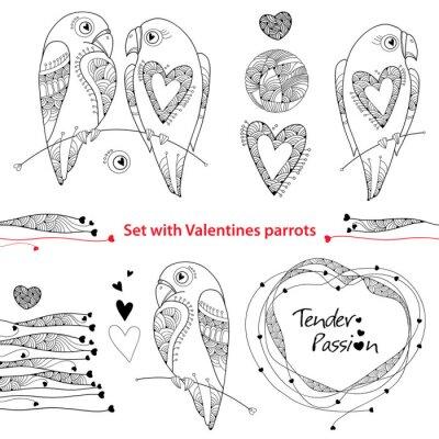 Vector valentine tag in kontur-stil gesetzt. outline paar papageien ...
