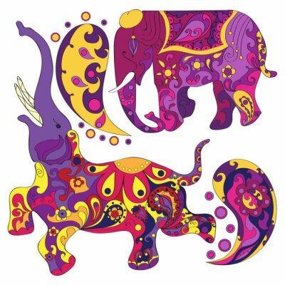 Fototapete Vector verzierten indischen Elefanten