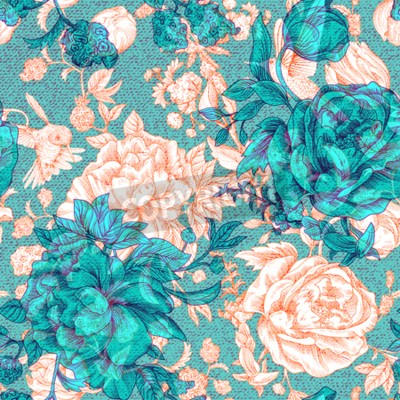 Fototapete Vector vintage pattern with roses and peonies. Retro floral wallpaper, colorful backdrop