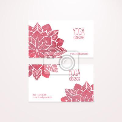 Vector Visitenkarten Vorlagen Mit Aquarell Rosa Blüten