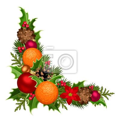 Weihnachtsstern Für Tannenbaum.Fototapete Vector Weihnachten Dekorative Ecke Mit Tannenbaum Zweige Kugeln