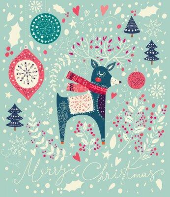 Fototapete Vector Weihnachten Illustration mit adorable Hirsche
