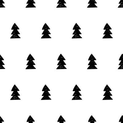 Fototapete Vector Weihnachten Muster mit Weihnachtsbäumen. Skandinavischer Stil.