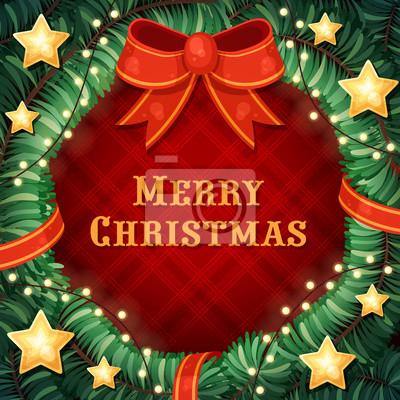 Vector Weihnachten Nadelbaum Kranz mit Sternen, Bogen und Kranz