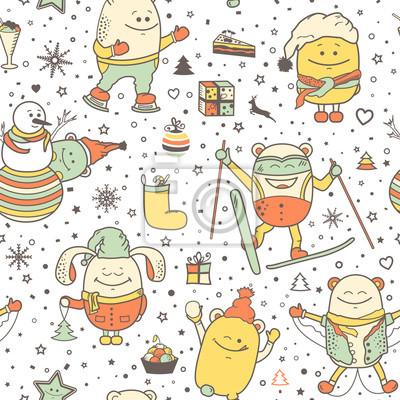 Fototapete Vector Weihnachten Nahtlose Muster Mit Lustigen Monstern Person