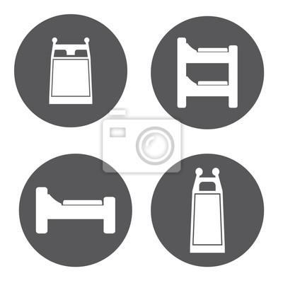 Vector Weissen Bett Icon Set Fototapete Fototapeten Schlafenszeit