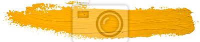 Fototapete Vector yellow oil brush stroke. Abstract varnish splash trace shape. Glossy oil paint smear long line on white background.