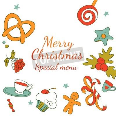 Menü Weihnachten.Fototapete Vector Zeichnung Weihnachten Besondere Menü Frohe Weihnachten