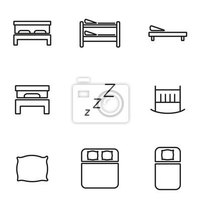 Vector Zeile Bett Icon Set Fototapete Fototapeten Innenraume