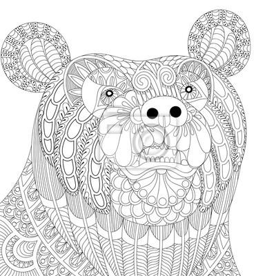 Vector zentangle bärenkopf für erwachsene anti stress färbung ...
