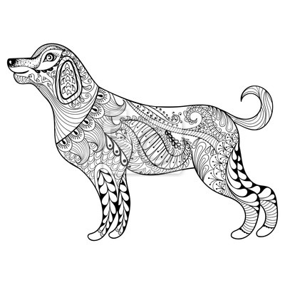 Vector Zentangle Hund Drucken Für Erwachsene Malvorlage Seite