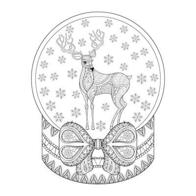 Vector Zentangle Weihnachten Schneekugel Mit Rentier