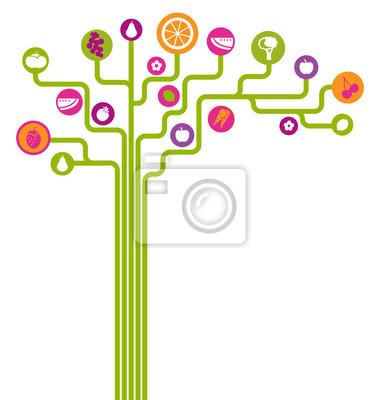 Vektor abstrakten Baum mit Obst und Gemüse