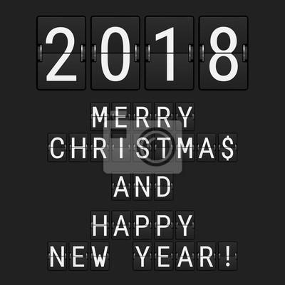 Buchstaben Frohe Weihnachten.Fototapete Vektor Analoger Flip Nummeriert 2018 Und Schlag Buchstaben Frohe