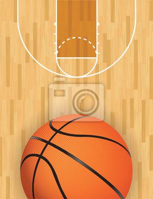 Vektor Basketball und Holzgericht