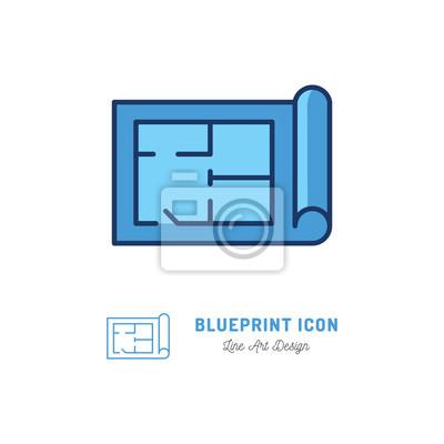 Vektor-blaupause-symbol bauplan umriss symbol fototapete ...