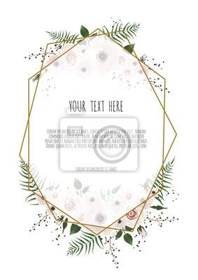 Fototapete Vektor Blumendesign Karte. Gruß, Postkarte Hochzeit Einladung  Vorlage. Eleganter Rahmen