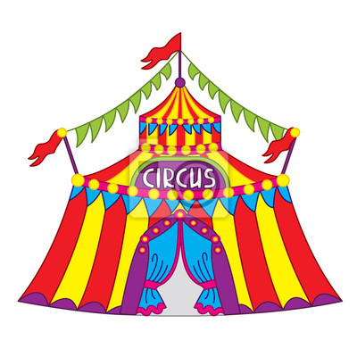 Fototapete Vektor bunte Zirkuszelt Zirkus