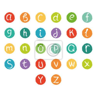 Vektor buntes englisches Alphabet. Kreide-Stil gezeichneten Buchstaben im Kreis.