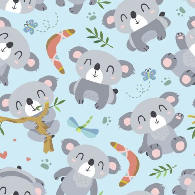 Fototapete Vektor-Cartoon-Stil koala nahtlose Muster