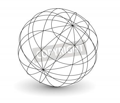Vektor drahtgitter-kugel-globus abbildung. fototapete • fototapeten ...