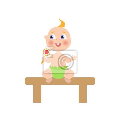 Vektor Flache Cartoon Neugeborene Baby Baby Sitzt Am Holztisch