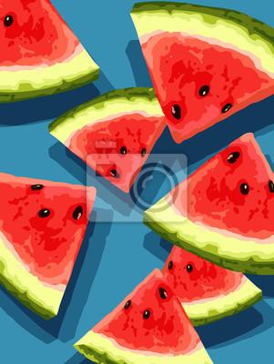 Vektor geschnitten Wassermelone Stücke